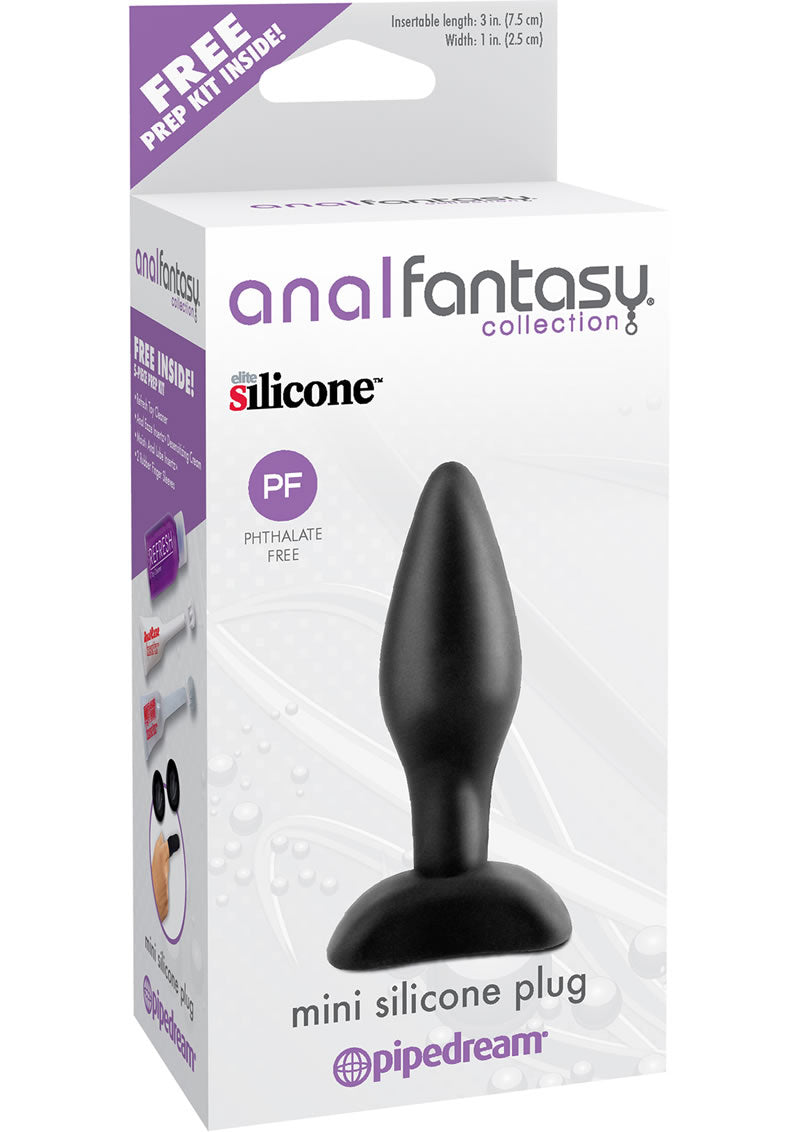 Anal Fantasy Collection Mini Silicone Plug Kit Black 3 Inch