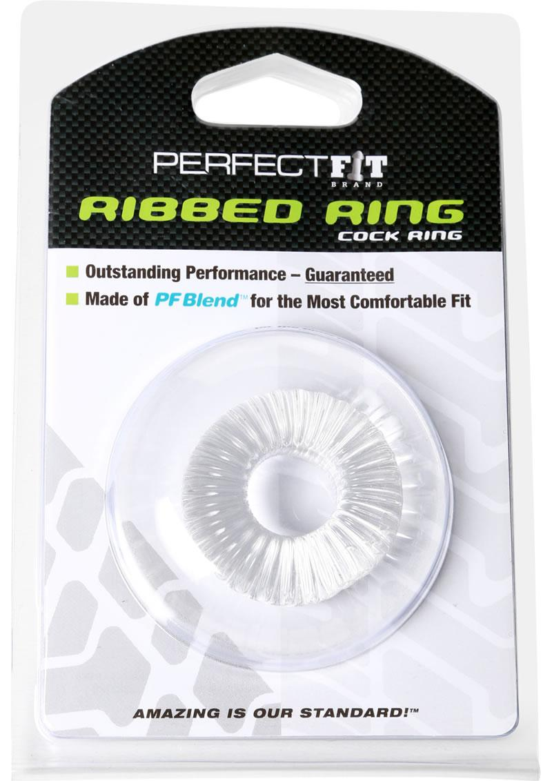 Perfect Fit Ribbed Ring Cock Ring - Clear