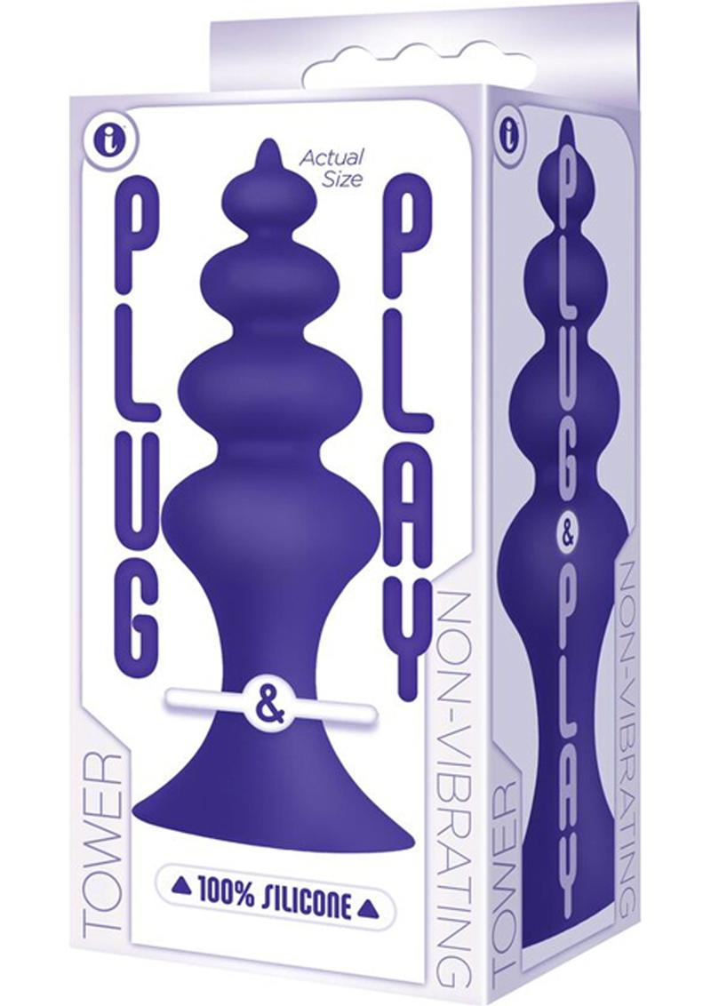 Plug & Play Tower Silicone Butt Plug Waterproof Plum