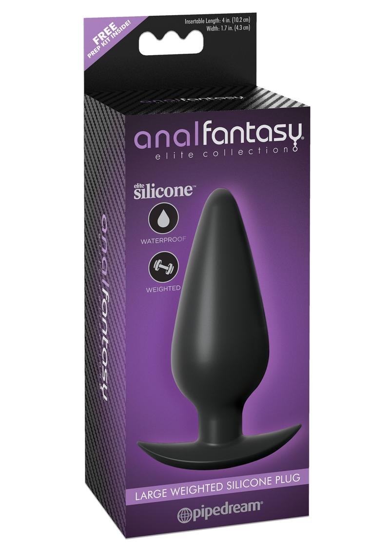 Anal Fantasy Elite Collection Large Weighted Silicone Plug Waterproof Black 4.7 Inch 5.8 Ounce