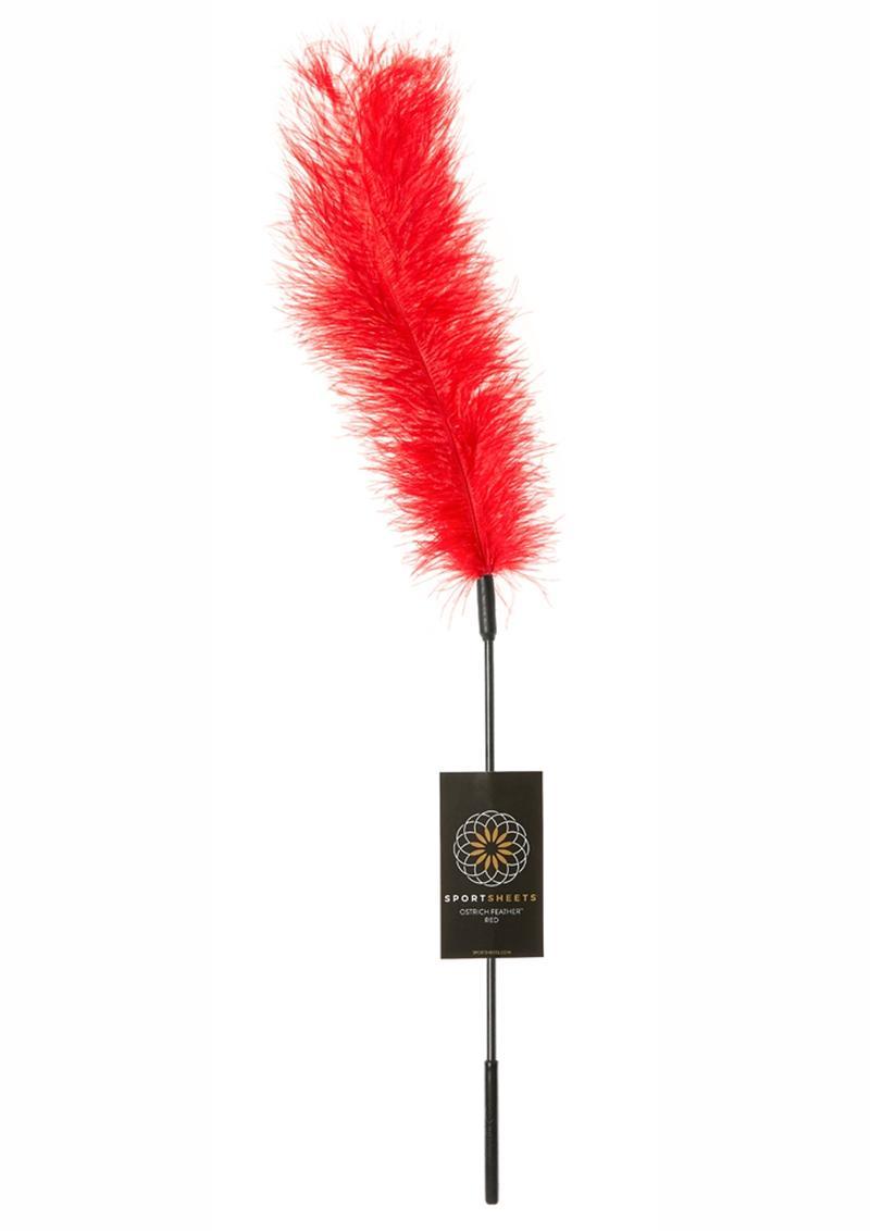 Body Tickler Ostrich Feather Tickler Red