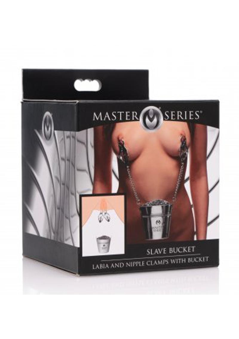 Master Series Slave Bucket Labia & Breast Clamps with Bucket - Silver