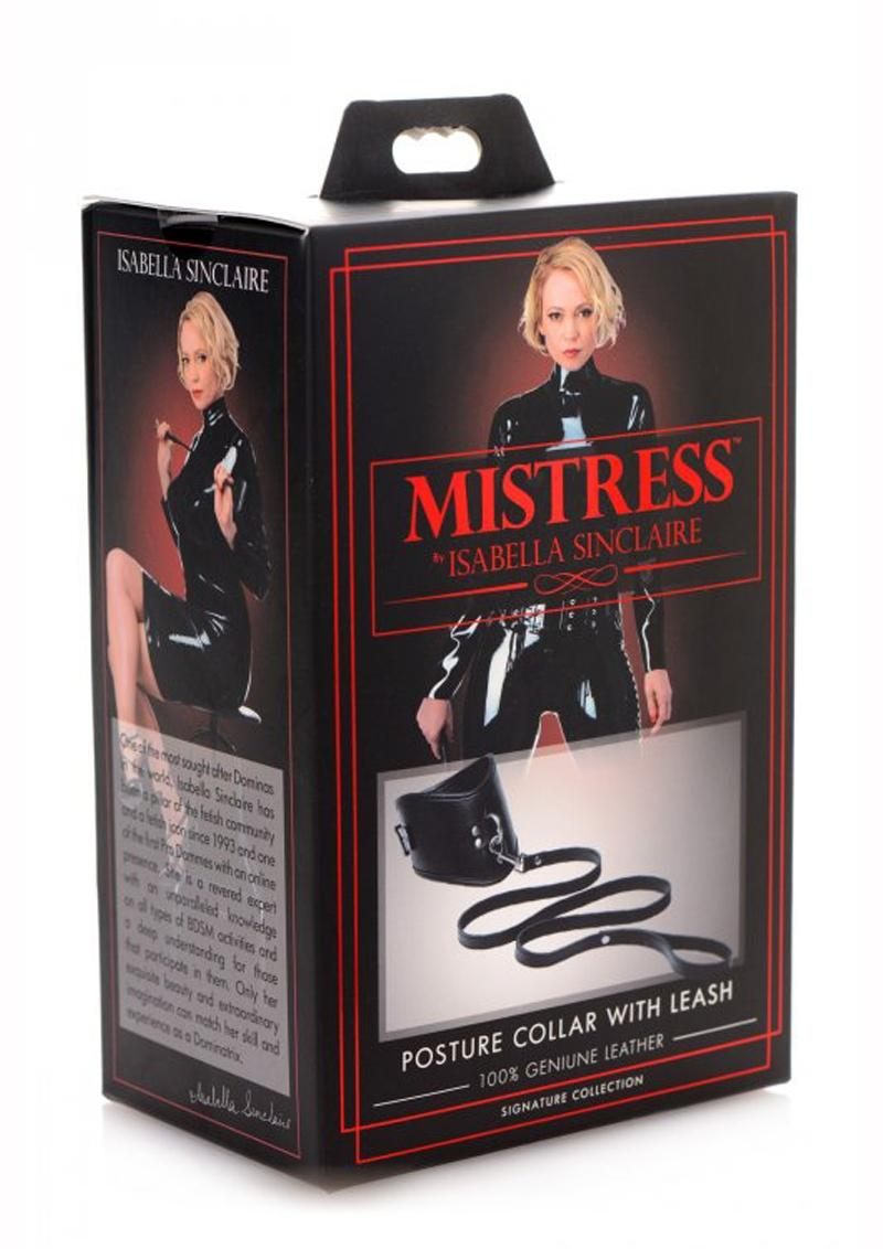 Mistress By Isabella Sinclaire Posture Leather Collar w/ leash - Black