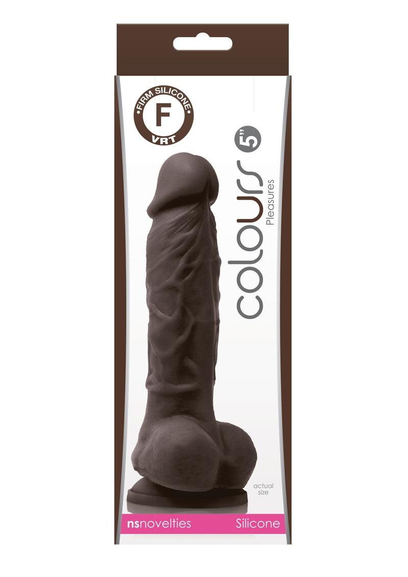 Colours Pleasures 5In Silicone Suction Cup Dildo With Balls - Chocolate
