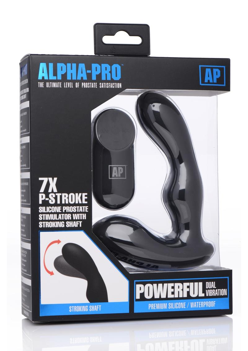 Alpha-Pro 7X P-Stroke Prostate Stimulator With Stroking Shaft Silicone Waterproof