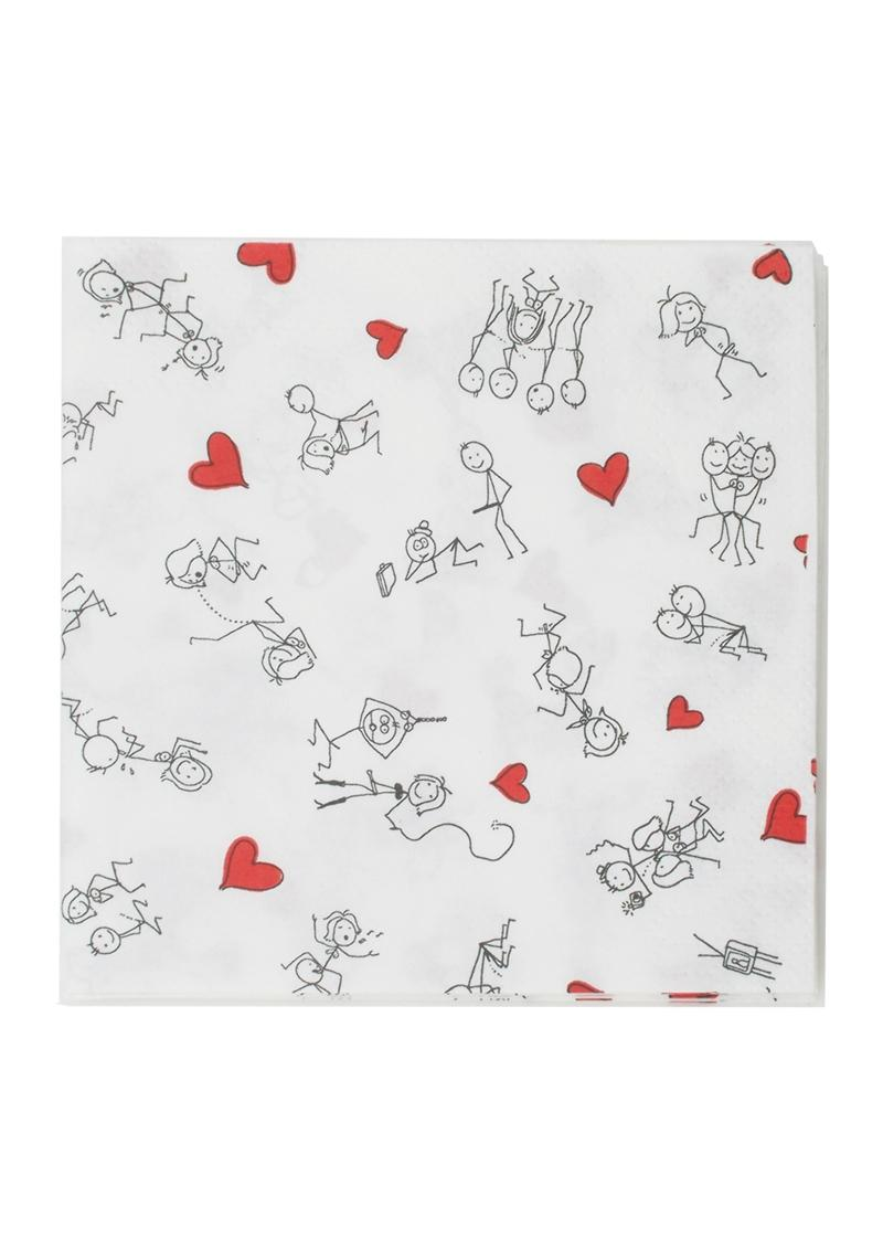 Candy Prints Dirty Napkins Stick Figure Style 9.8 X 9.8 Inches 8 Each Per Pack