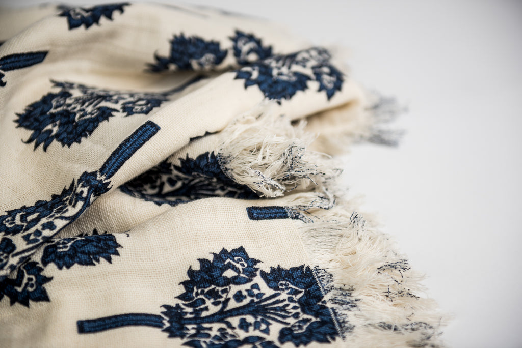 INDIGO TAMRA THROW, Summer Snow Collection