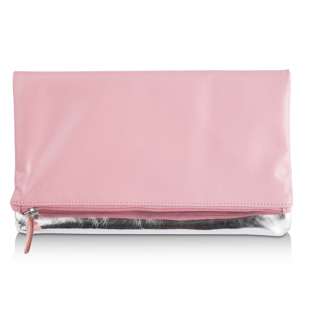 Pyar&Co. Light Pink & Metallic Silver Leather Clutch