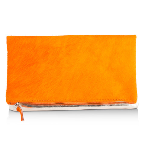 Leather Clutch- Orange