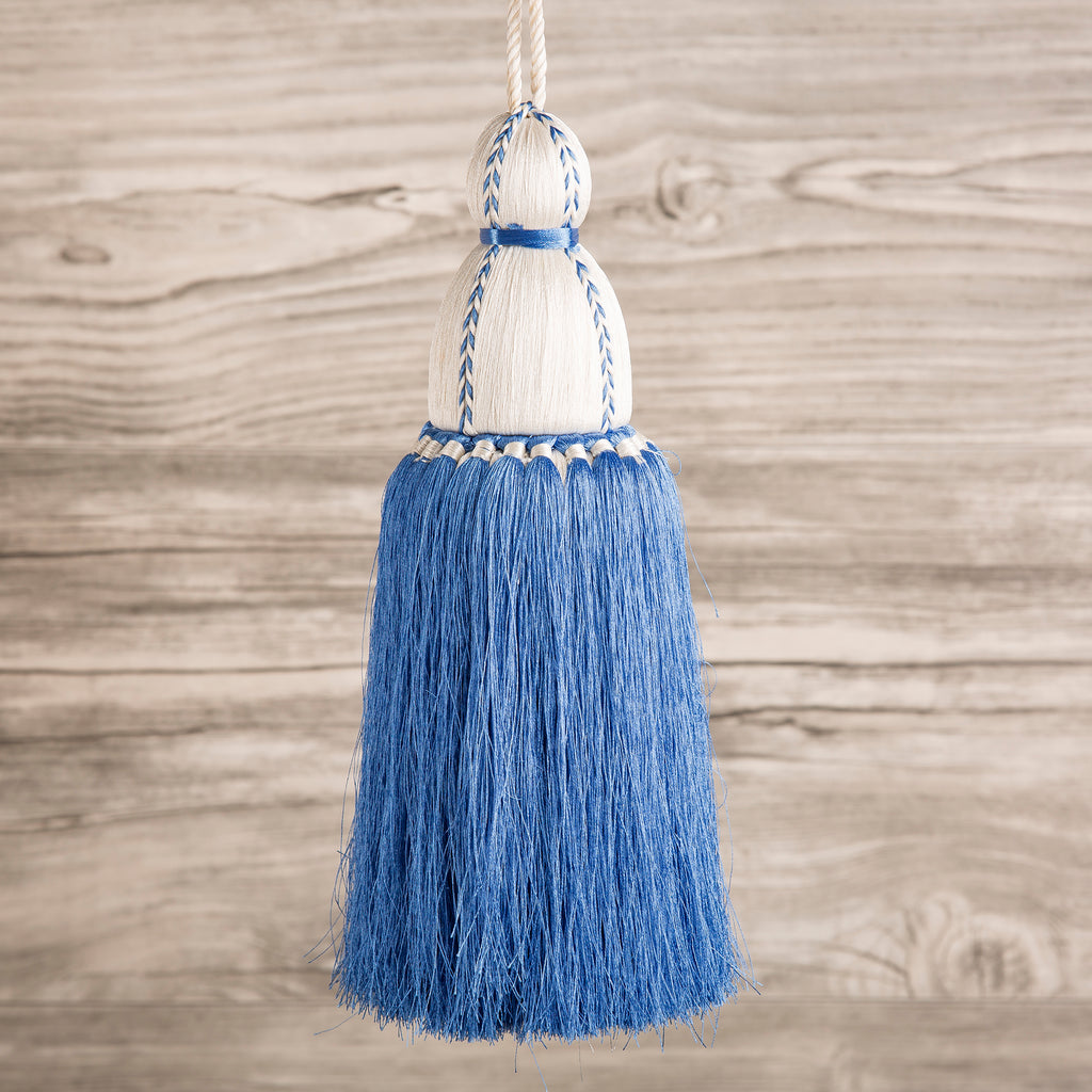 Tassel, French Blue & White Trellis Home Tassels & Trims Collection with Pyar&Co.
