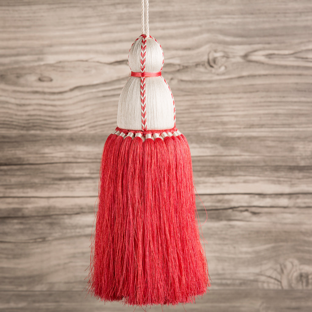 Coral & White Tassel, Trellis Home Tassels & Trims Collection