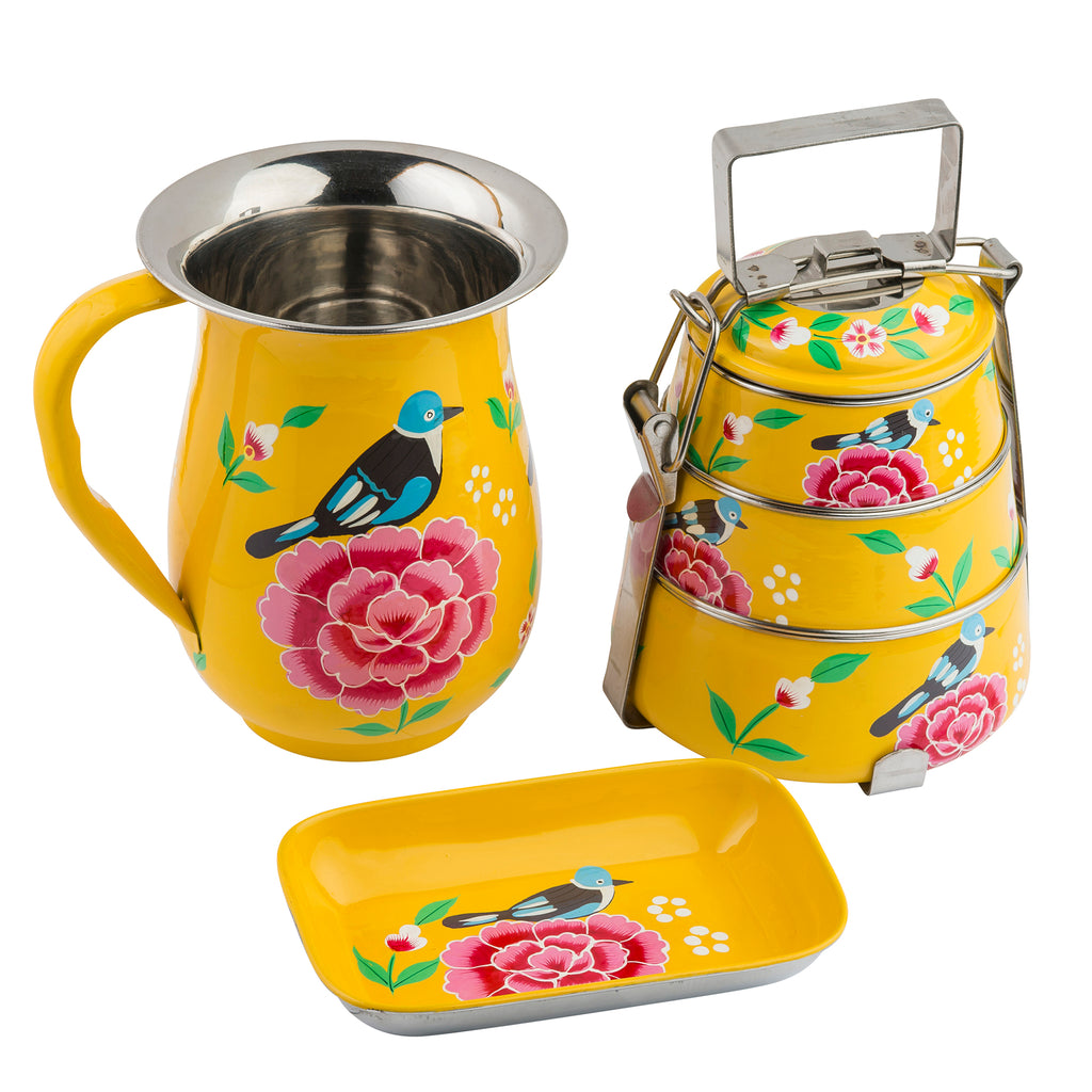 Yellow Blossom & Bird Tiffin 3 Tier Container