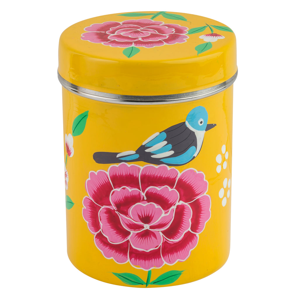 Yellow Blossom & Bird Canister (Set of 3)