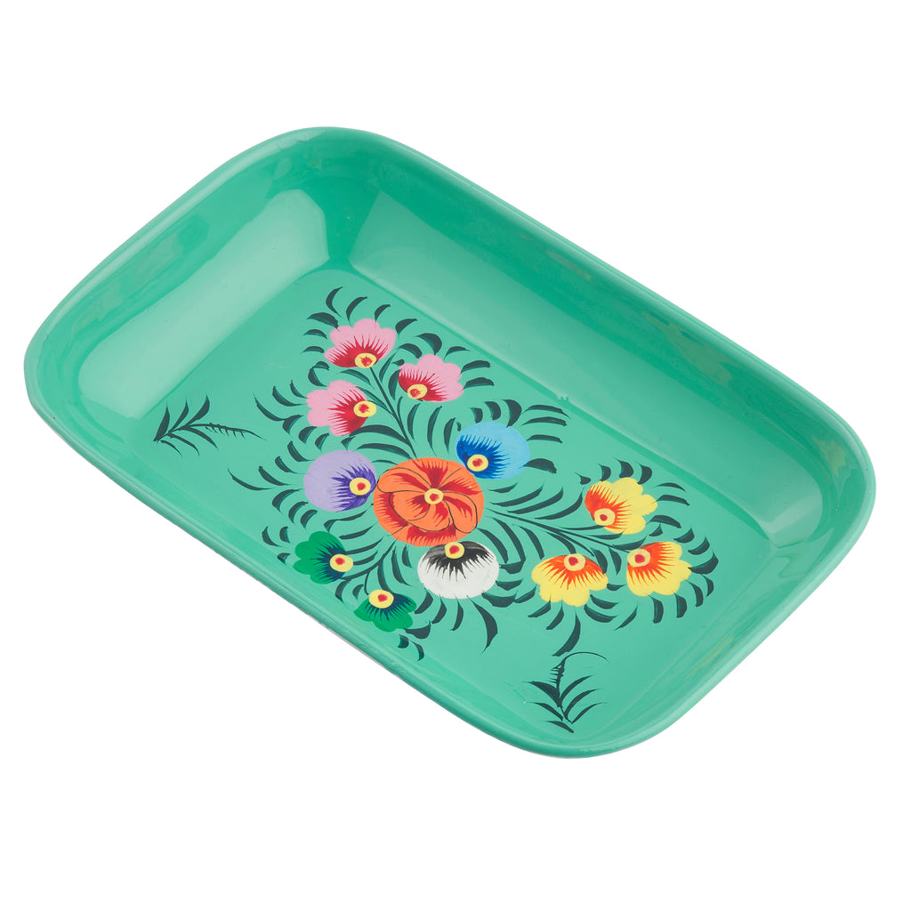 Teal Blossom Small Rectangular Tray