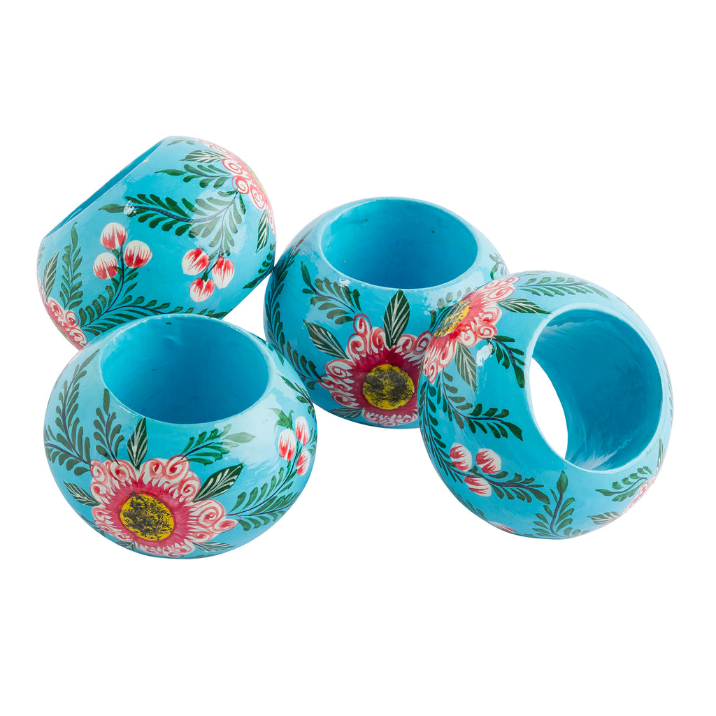 Light Blue Blossoms Rings Set of 4