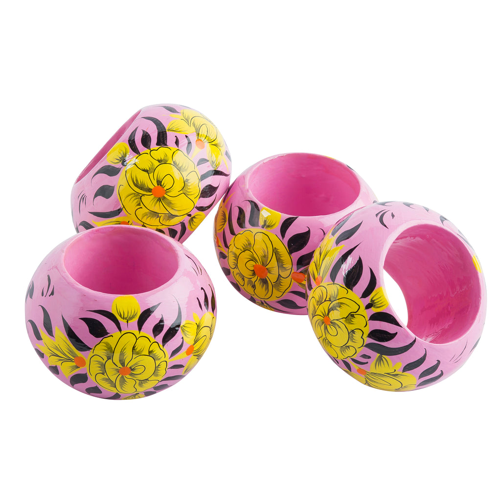 Pink Blossom Napkin Rings Set of 4