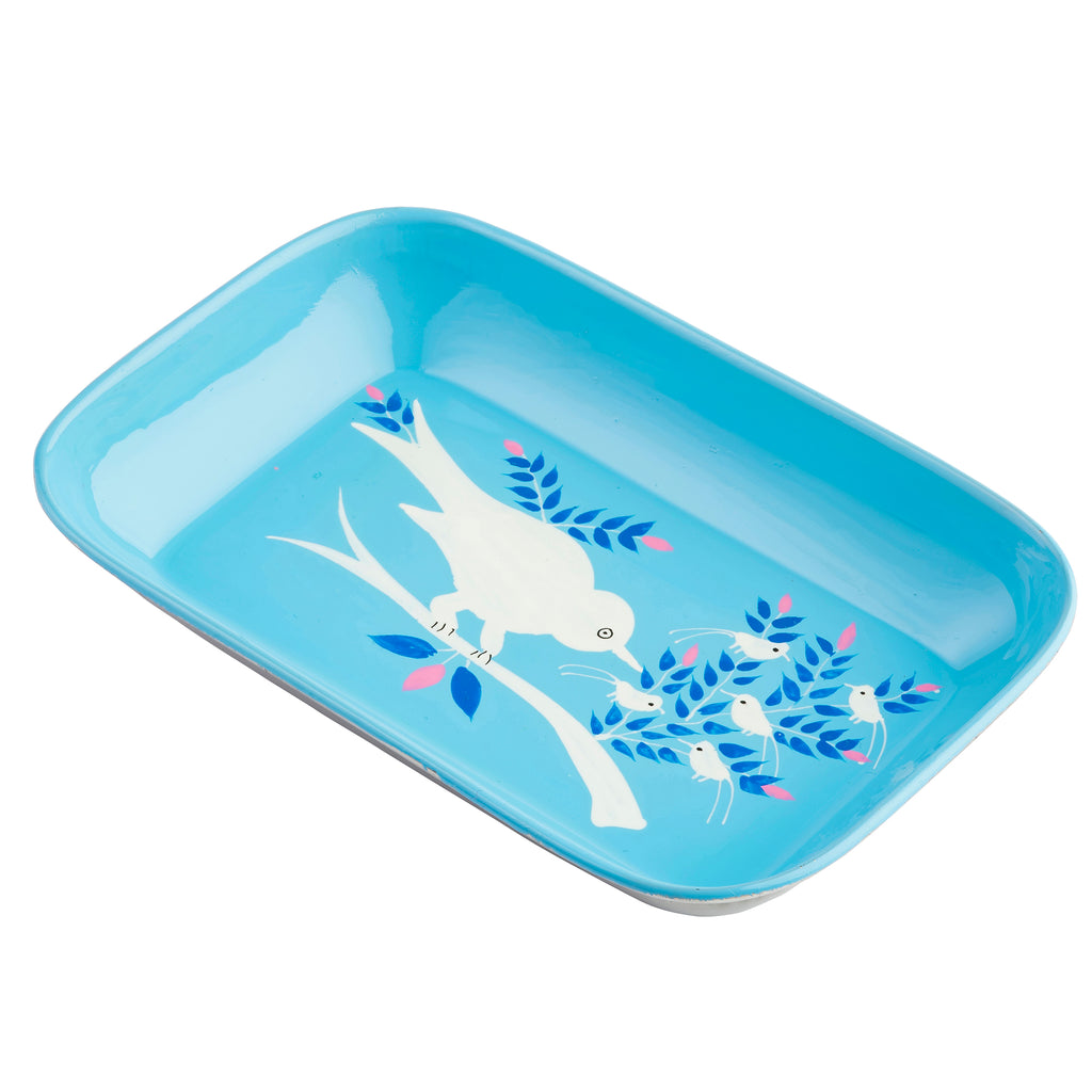 Light Blue Blossom & Bird Small Rectangular Tray