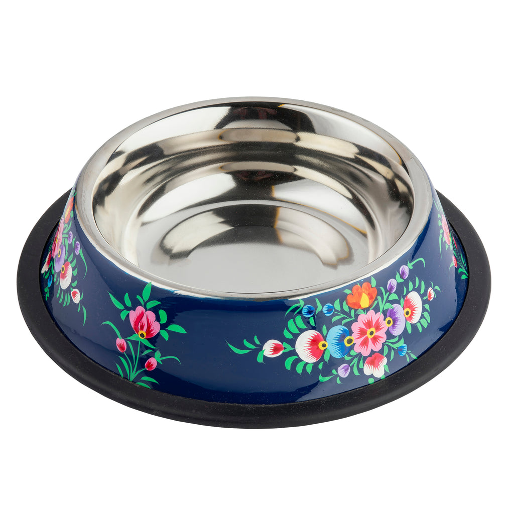 Navy Dog Bowl, Blossom & Bird Collection
