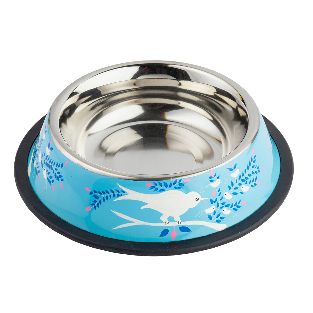 Sky Blue Stainless Steel Dog Bowl