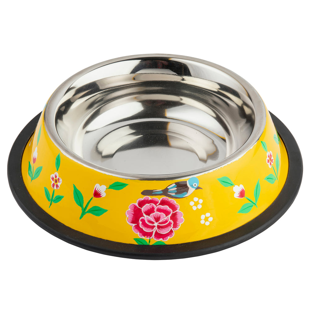 Yellow Stainless Steel Dog Bowl