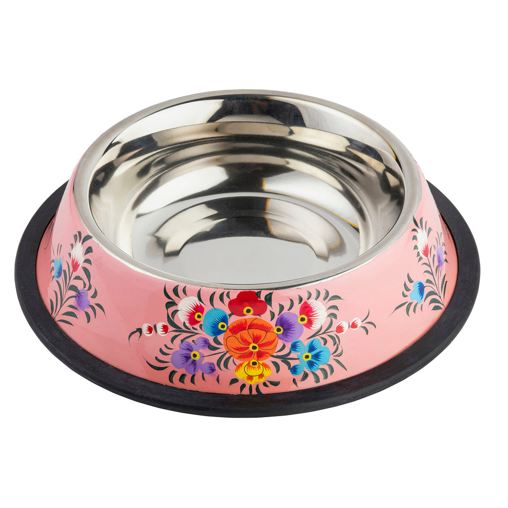 Pink Stainless Steel Dog Bowl