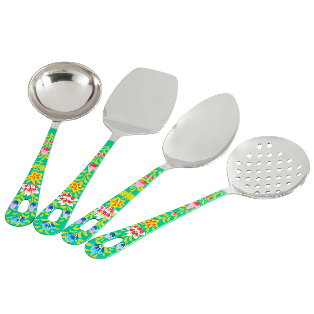 GREEN BLOSSOM & BIRD COLLECTION 4 PIECE SERVING SPOON SET