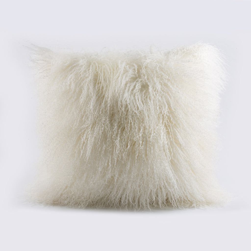 MONGOLIAN FUR, WHITE Pillow - Cover Only