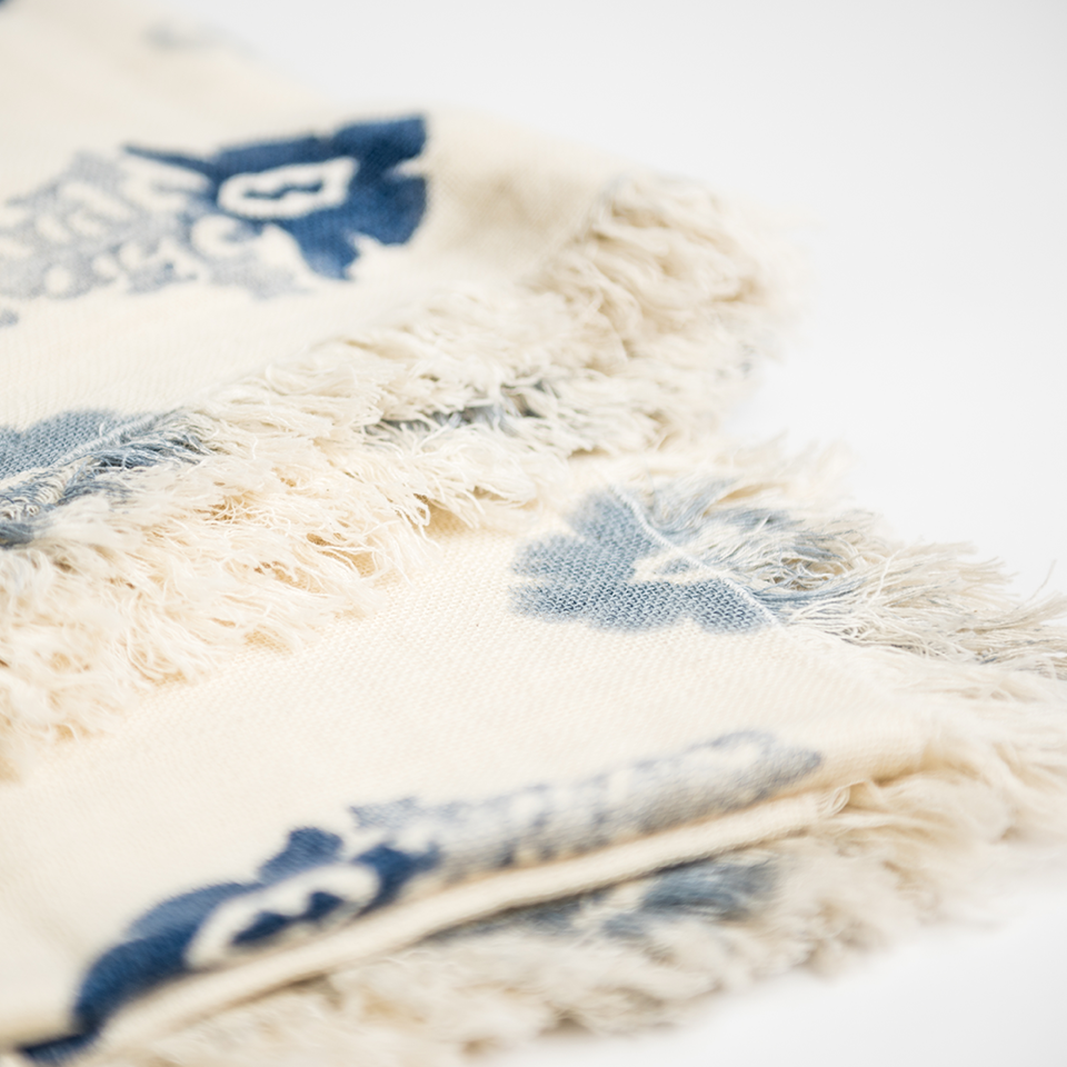 Indigo Blue Ombre Fleur Cotton Throw, Renaissance Collection