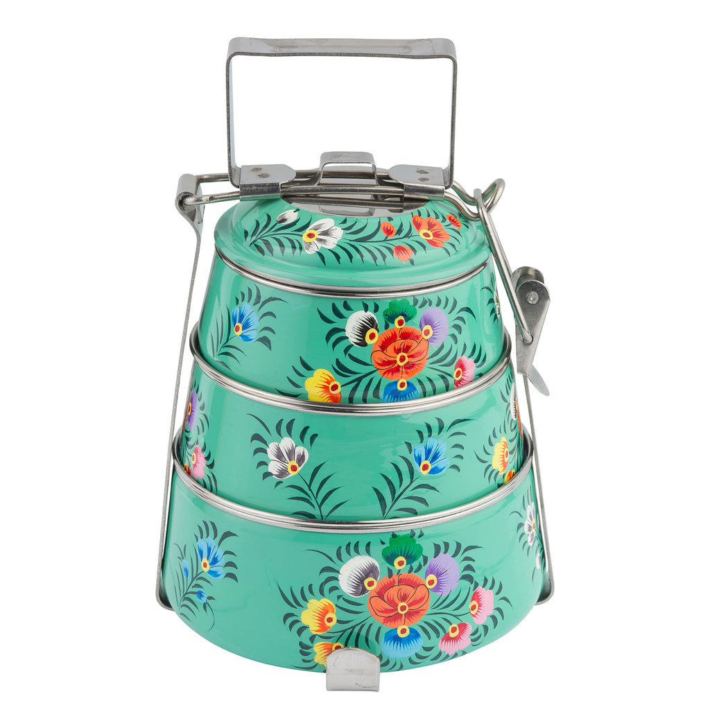 Teal Blossom & Bird Tiffin 3 Tier Container