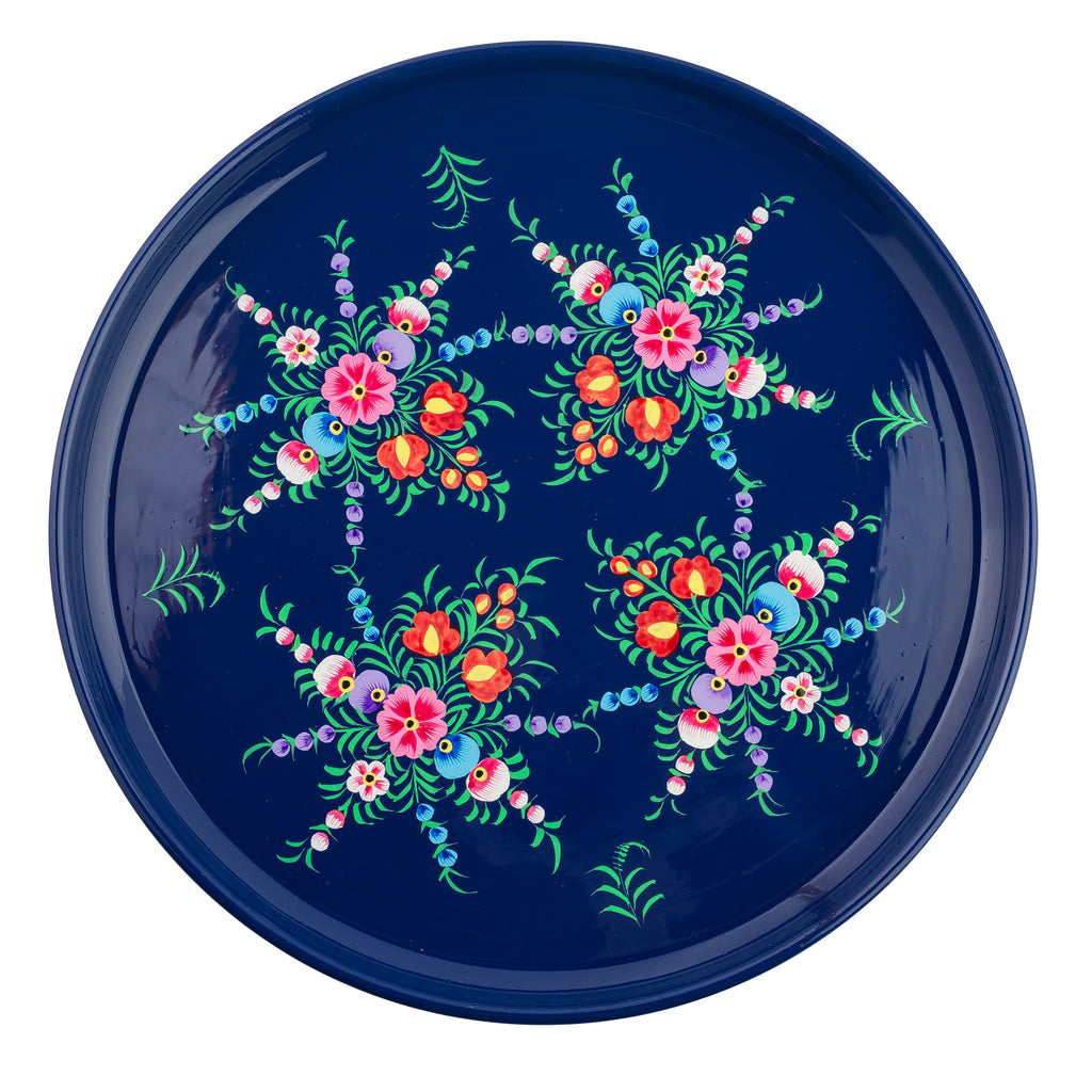 Navy Blossom Serving Platter
