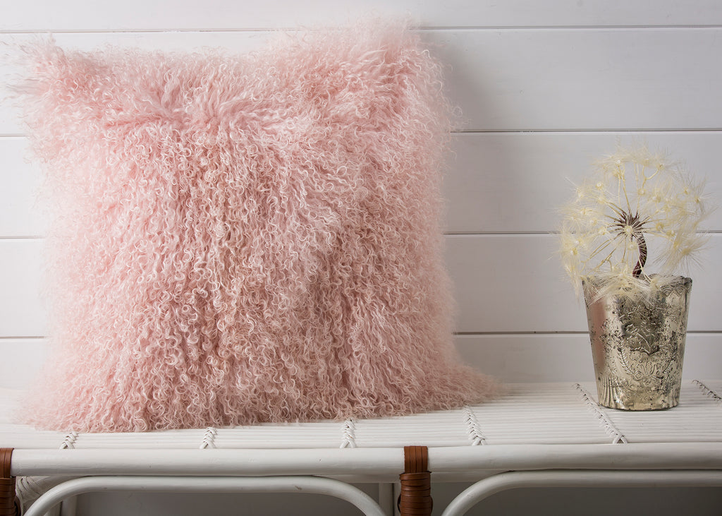 MONGOLIAN FUR, SOFT PINK Pillow - COVER ONLY