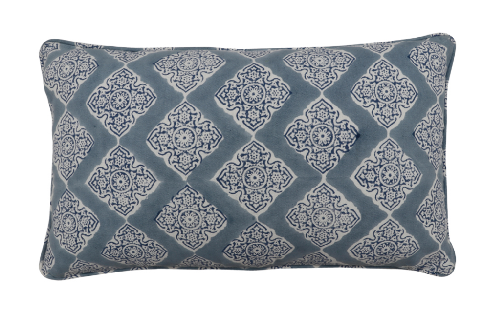 Diamond Blue Lumbar Pillow Cover