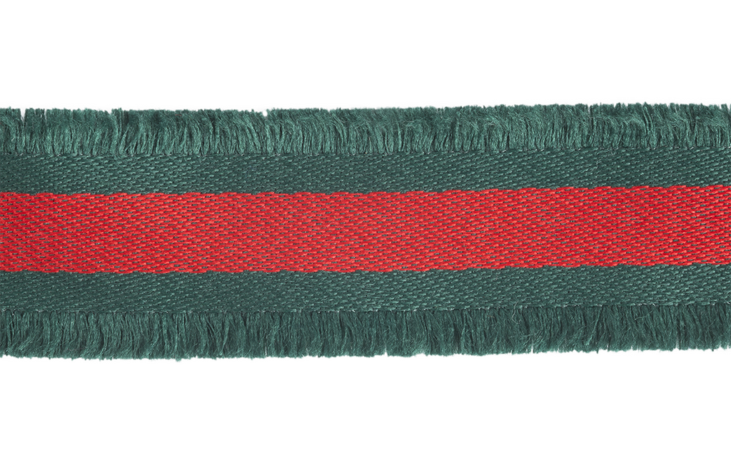 Green & Red Stripe Eyelash Trim