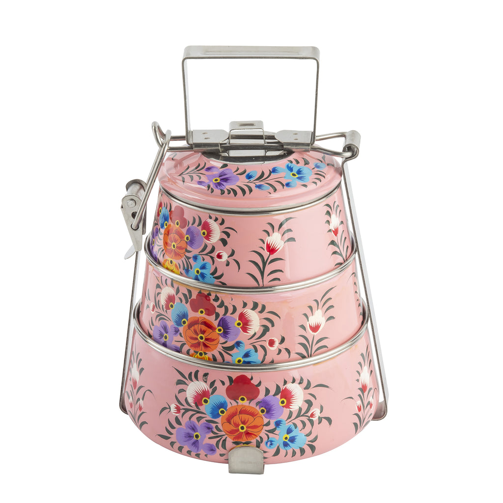Pink Blossom & Bird 3 Tier Container