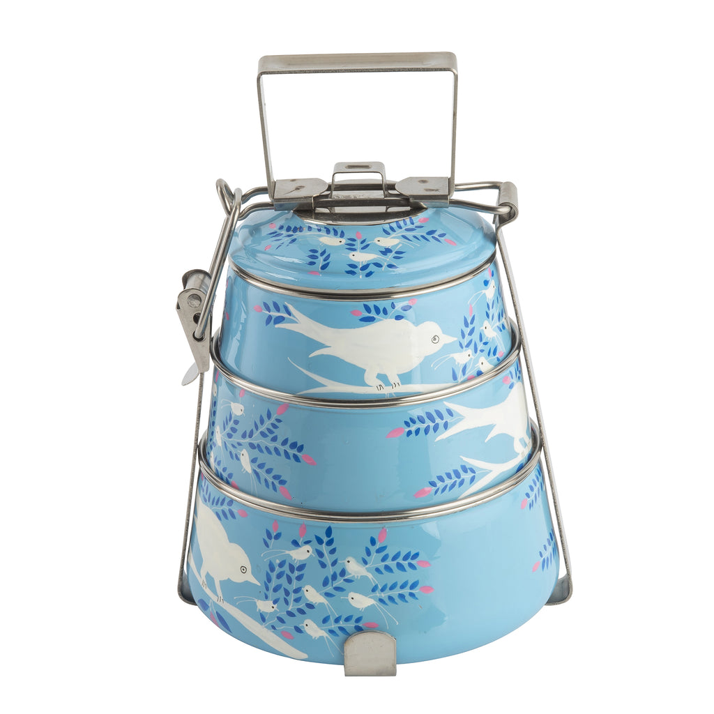 Light Blue Blossom & Bird 3 Tier Container