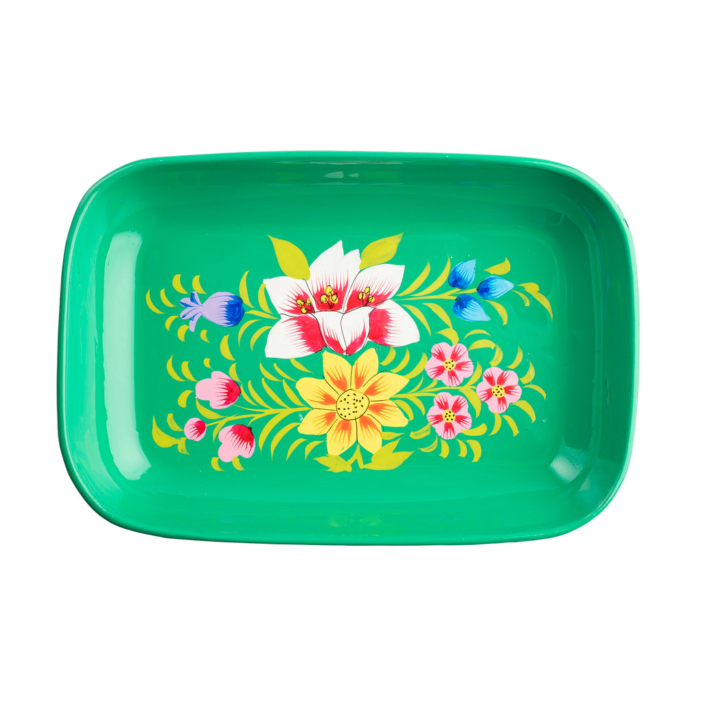 Green Blossom Small Rectangular Tray