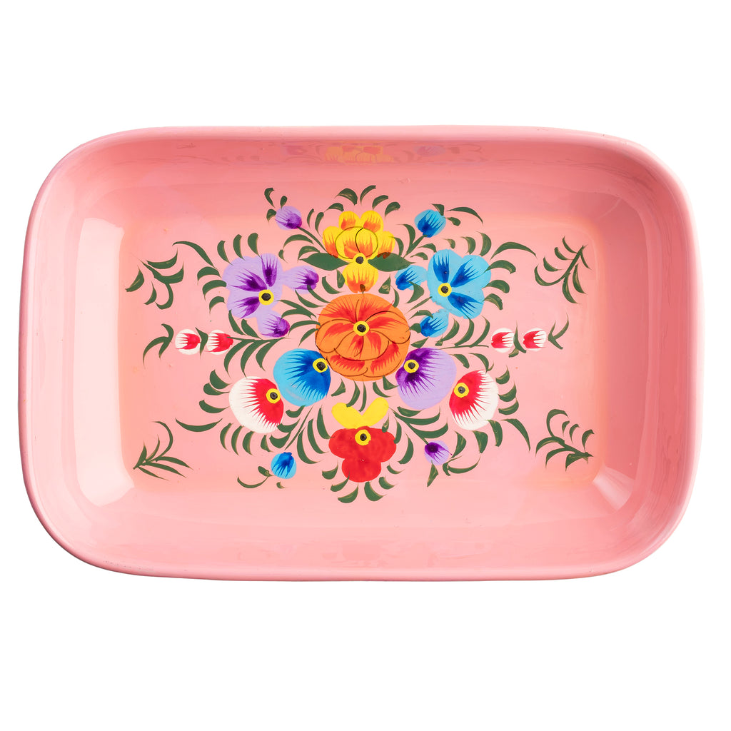 Pink Blossom Small Rectangular Tray