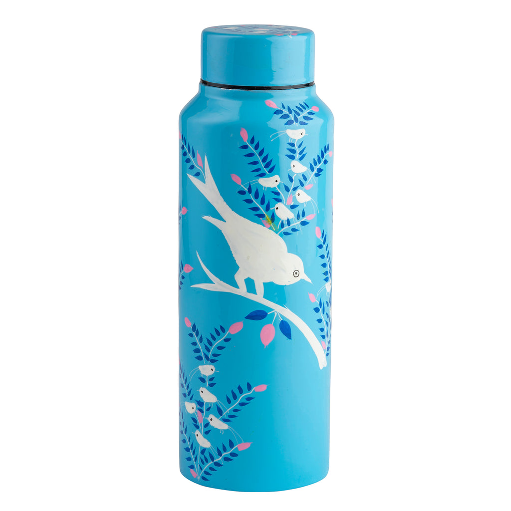 Light Blue Blossom & Bird Water Bottle