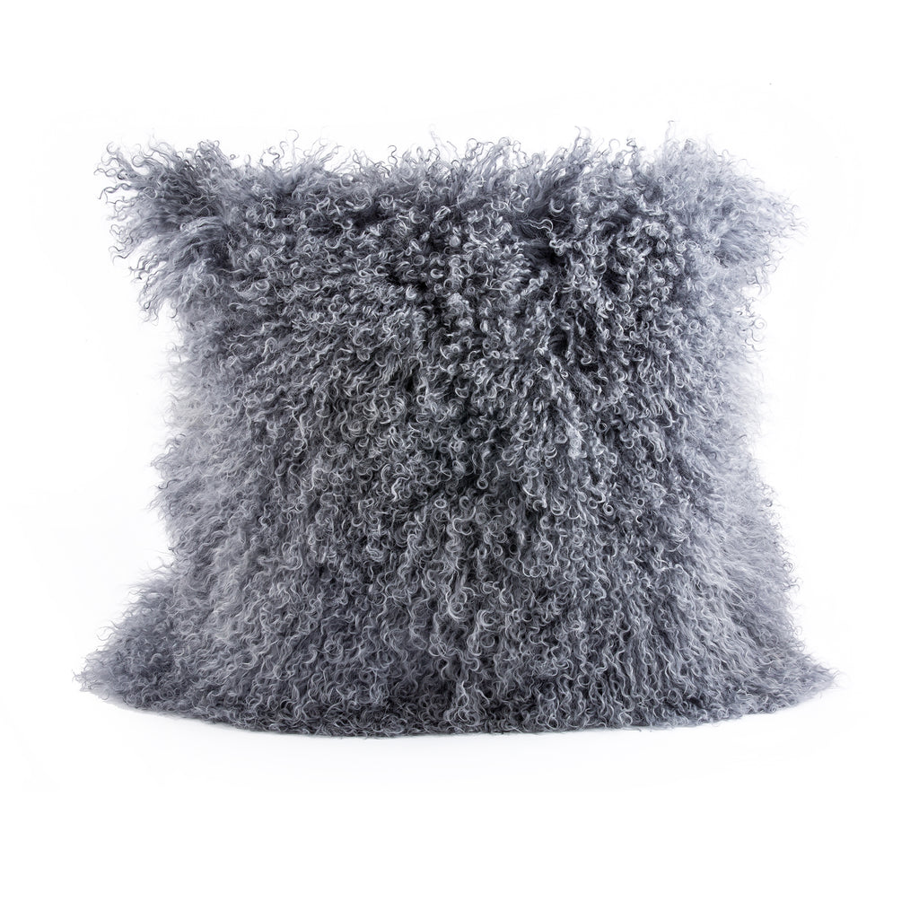 Pyar&Co. MONGOLIAN FUR PIllow, GRAY - COVER ONLY