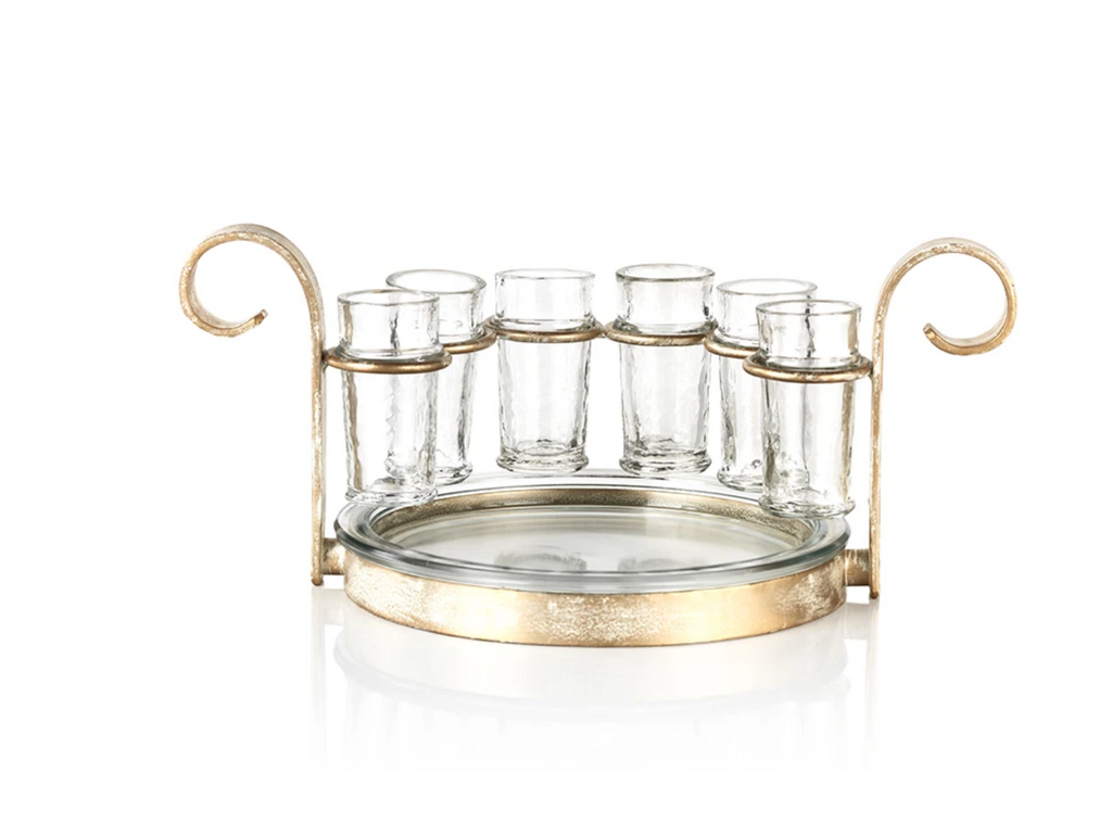 Brushed Gold Fiesta Shot Glass Set Gold Rim