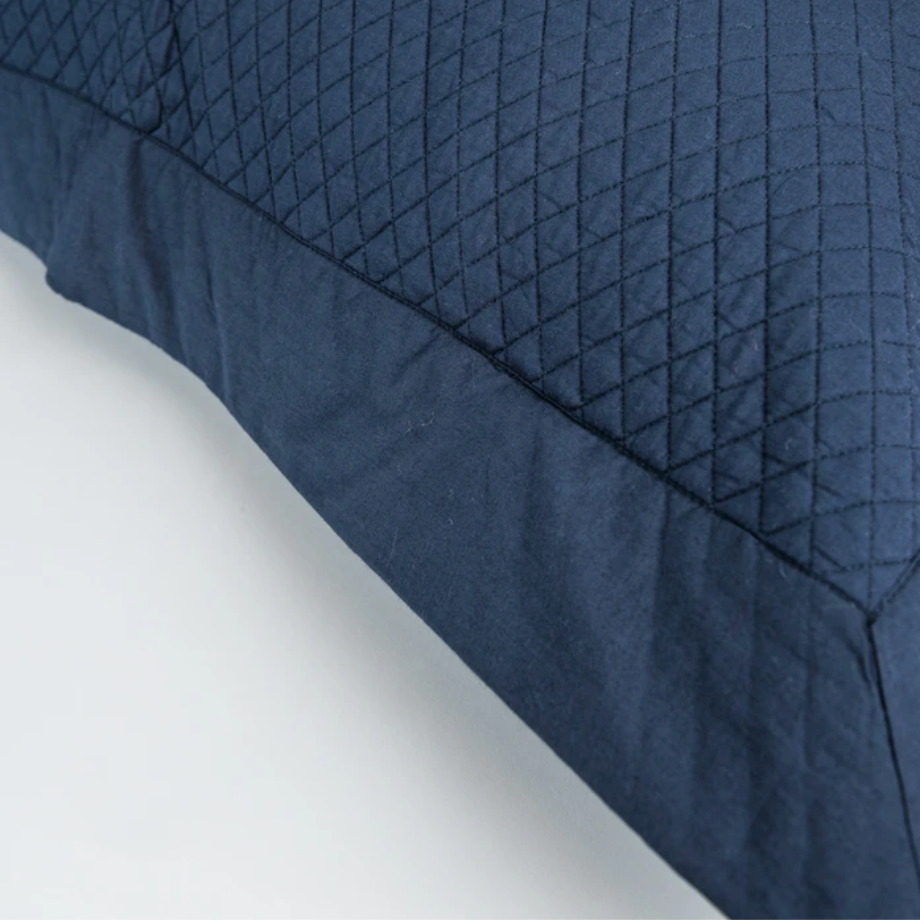 Indigo Blue, Quilted Gulnar Coverlet by INKA