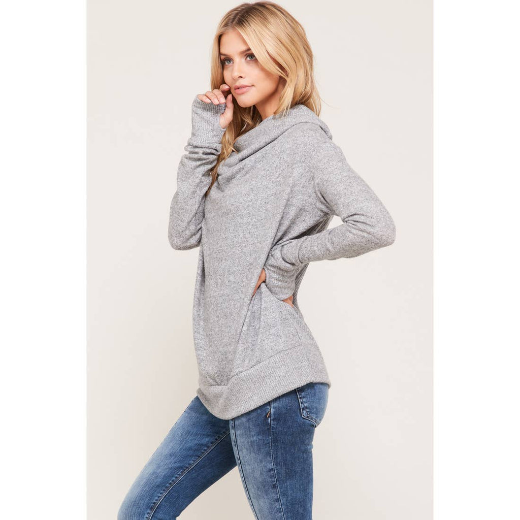 Heather Gray Cowl Neck Hoodie