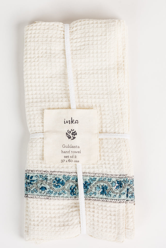 Set of Two Guldasta Aqua Hand Towels