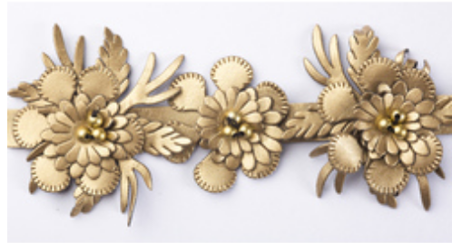 Gold Kaliyann Faux Leather Flower Trim