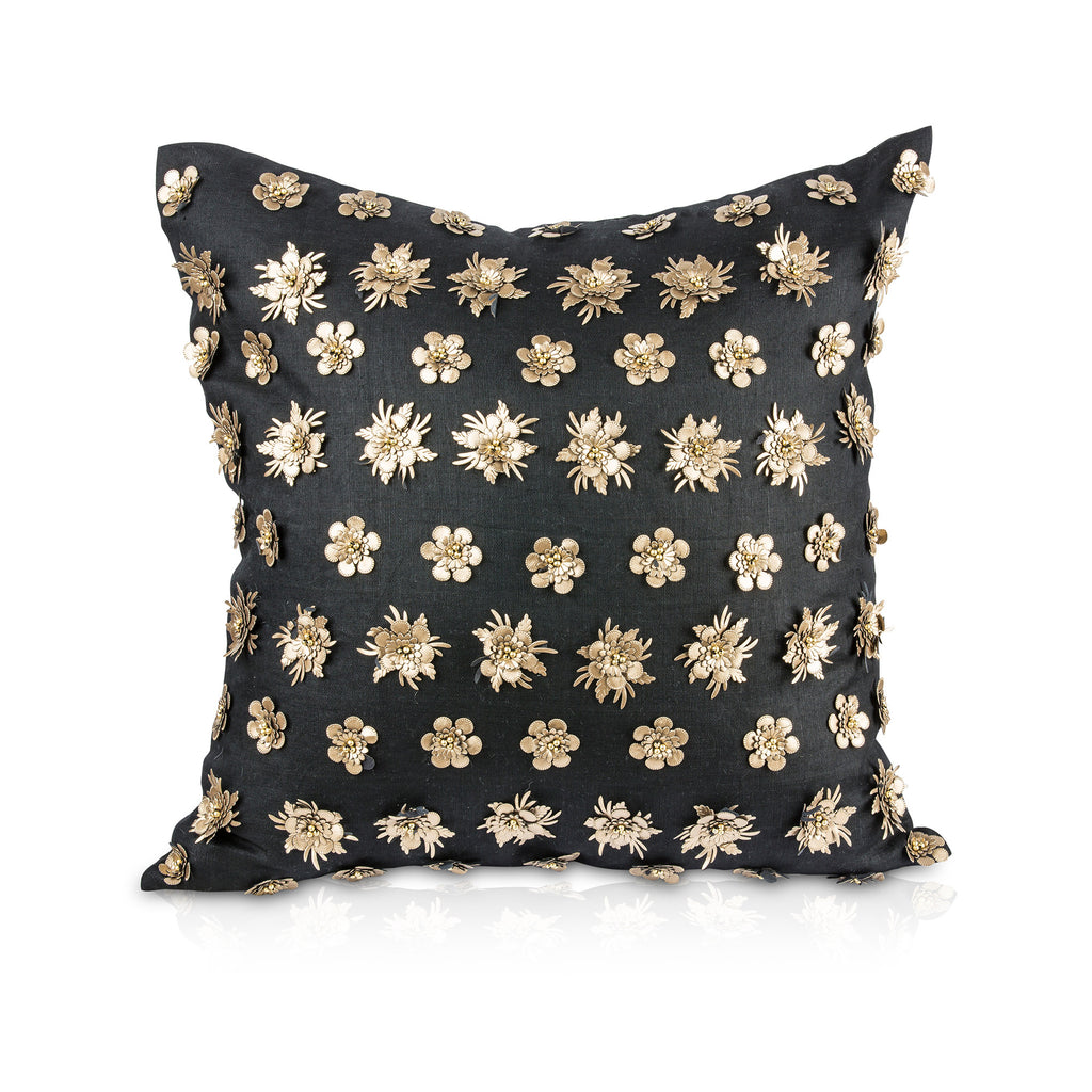 Pyar&Co. KALIYANN Pillow, Black Linen