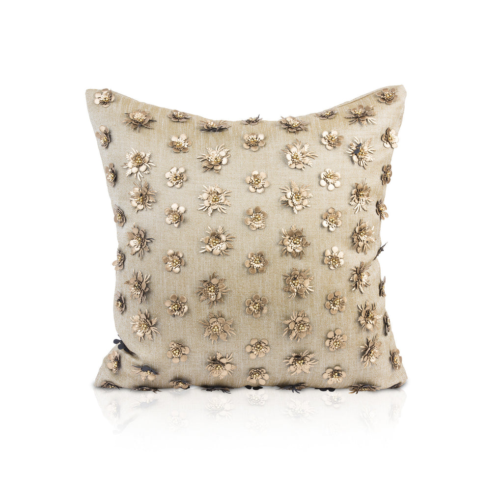 KALIYANN, Gold Square Pillow