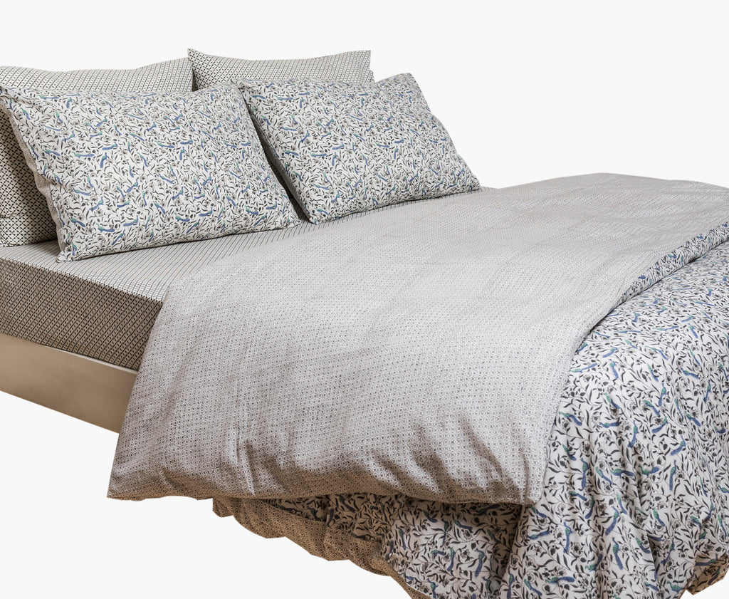 Peacock Print, Summer Snow Duvet Cover Set