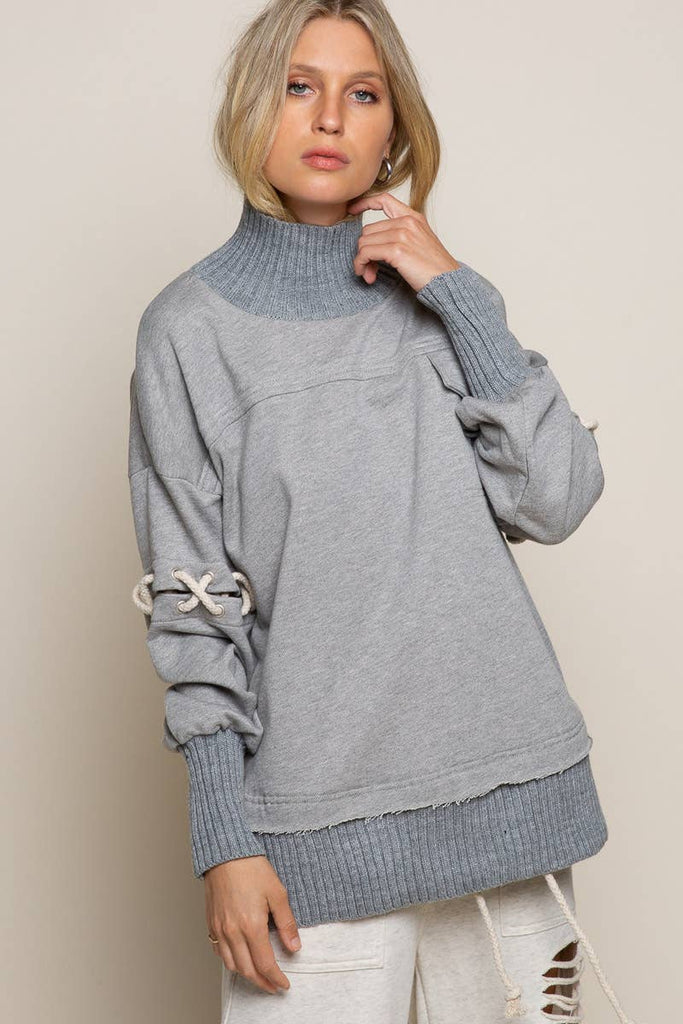 Heather Gray French Turtleneck Sweatshirt