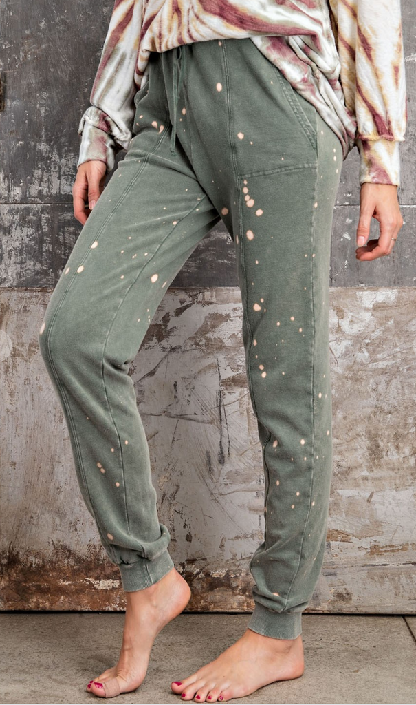 Bleach Splattered Green Joggers