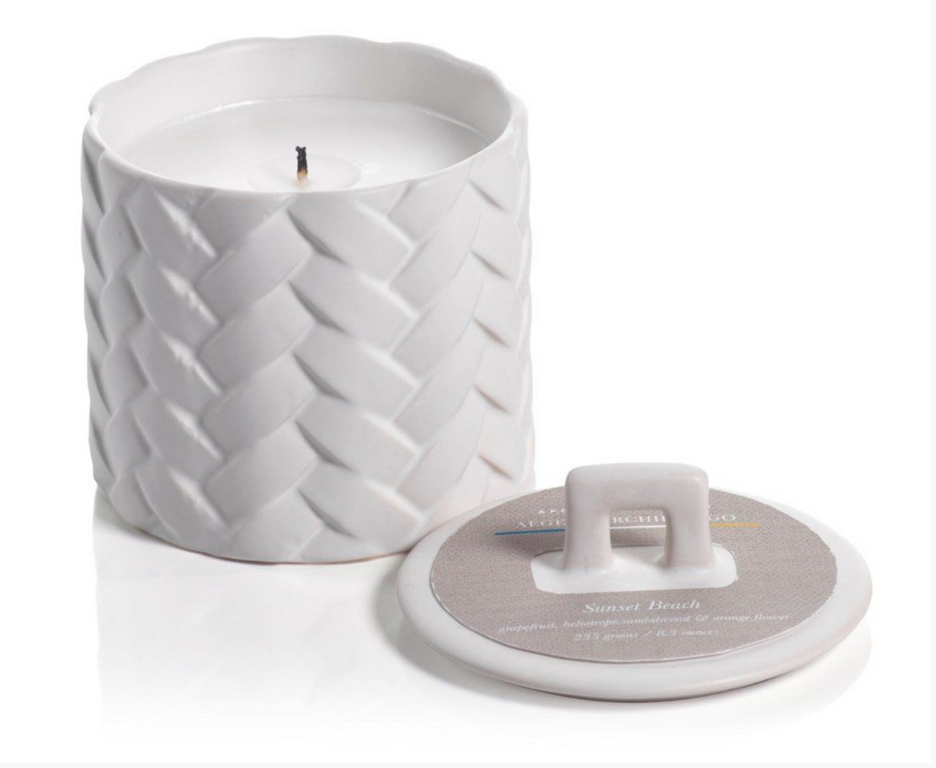 Sunset Beach White Woven Candle